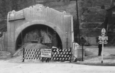 North portal of fourth tunnel on Figueroa Street under construction, Los Angeles, 1935