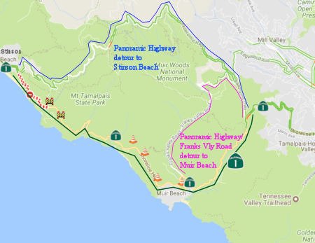 Stinson and Muir Beach Detours