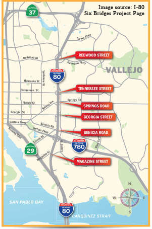 Rte 80 Six Bridge Project in Vallejo